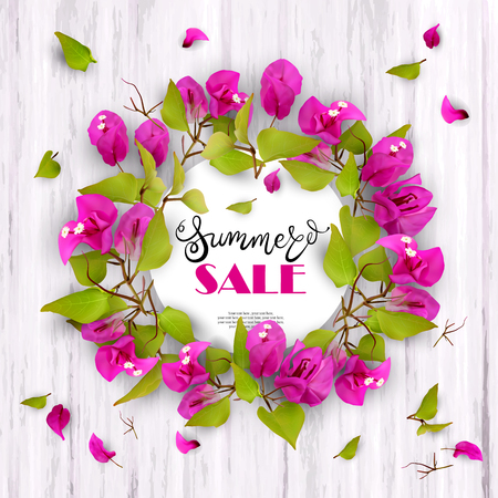 3d. Summer Sale. Discounts. End of season. Advertising background with tropical flowers Bougainvillea and lettering against white wood.