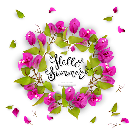 Hello summer. Lettering. 3d. Tropical flowers bougainvillea in a frame. Isolated illustration on white background. Illustration