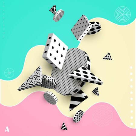 3D decorative elements with space for text. Black and white geometric shapes on a colored background. Abstract colorful poster. Vector illustration