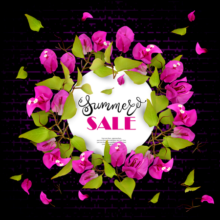 Summer Sale. Beautiful floral wreath with tropical flowers bougainvillea on a background of a dark stylized brick wall. Lettering. Place for text. Vector illustration of EPS10 Illustration