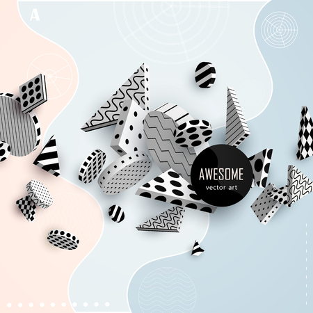 reserved: 3D decorative elements with space for text. Black and white geometric shapes on a colored pastel background. Abstract colorful poster. Vector illustration
