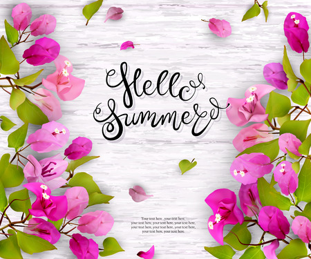 Tropical flowers, leaves, buds and petals on white wood. Floral seasonal background with lettering. Vector illustration
