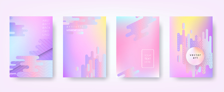 Abstract vector backgrounds in trendy hipster style with blurry fluid 3d shapes and elements of memphis style. Template A4 for design poster, banner, flyer, cover, placard, magazine, book, presentation Illustration