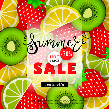 Summer sales. Advertising text on a background of a pattern of stylized tropical fruits. Vector illustration