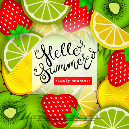 Hello summer. Tasty season. Lettering in the background of a pattern of stylized tropical fruits and berries. Vector illustration.