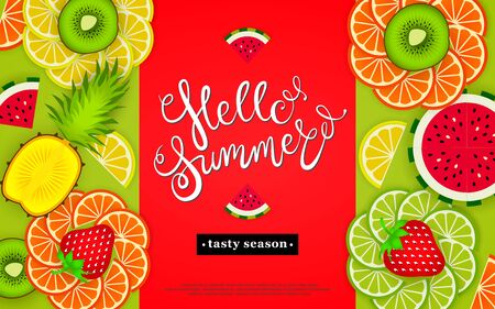 Hello summer. Tasty season. Lettering in the background of a pattern of stylized tropical fruits, and berries. Vector illustration Illustration