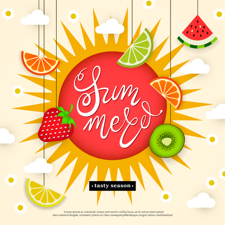 Banner Hello summer. Tasty season. Lettering in the background of a pattern of stylized tropical fruits, berries, clouds, flowers and sun. Vector illustration