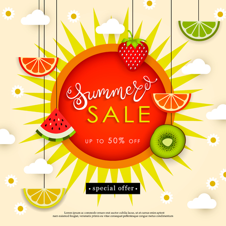 Banner Summer Sale. Tasty season. Lettering in the background of a pattern of stylized tropical fruits, berries, clouds, flowers and sun. Vector illustration Illustration