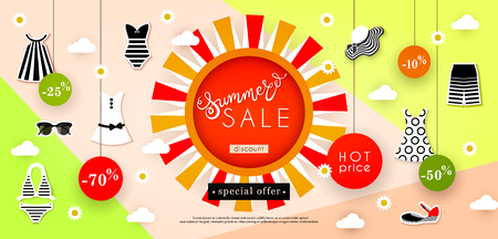 Banner Summer Sale. Discounts, hot price, special offer. Advertising of the shop and boutique of fashionable seasonal clothes, footwear and accessories. Vector illustration