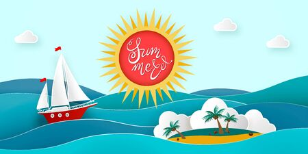 Sailboat in the sea. Island with coconut palms and beach in the ocean. Sun, clouds. Vector illustration for advertising, travel, tourism, cruises, travel agency, discounts and sales. Paper style Stock Illustratie