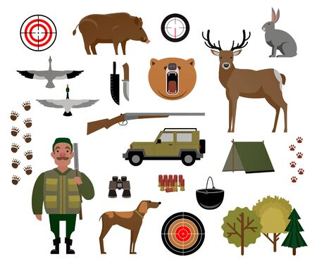 boiler: Hunter, hunting, game, wild animals, hunting accessories. Set of isolated elements for design. Vector illustration of EPS 10.
