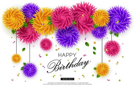 誕生日、ジュビリー、記念日。背景に 3 d の花、白い背景上のテキスト。ペーパー アート。グリーティング カード、プラカード、バナー、チラシ用