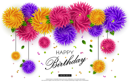 Birthday, jubilee, anniversary. Background with 3d flowers and text on white background. Paper art. Templates for greeting cards, placards, banners, flyers. Vector illustration