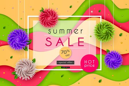 3D stylized multicolored flowers with leaves on striped background. Summer Sale. Abstract floral origami pattern. Paper style. Vector illustration