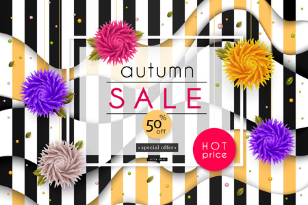 Autumn Sale. 3D stylized multicolored flowers with leaves on striped black and white background. Abstract floral origami pattern. Paper style. Vector illustration