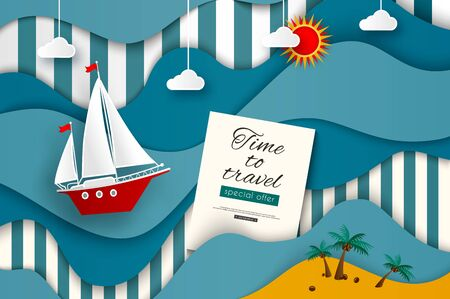 dinghy: Time to travel. Sailboat in the stylized sea. Sun, clouds, wave, ship. Vector illustration for