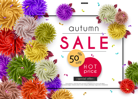 Autumn Sale. 3D stylized multicolored flowers with leaves. Abstract floral origami pattern. Paper art. Vector illustration