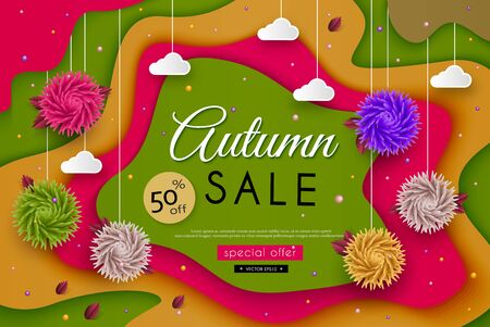 aster: Autumn Sale. 3D stylized multicolored flowers, leaves, landscape, clouds, message. Abstract floral origami pattern. Paper art. Vector illustration