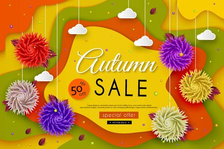 Autumn Sale. 3D stylized multicolored flowers, leaves, landscape, clouds, message. Abstract floral origami pattern. Paper art. Vector illustration