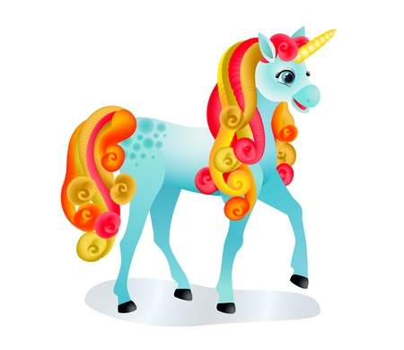 Cute cartoon with colorful mane and tail. Isolated image on white. Vector illustration.