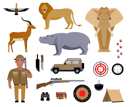 Hunter, hunting, game, hobby, sport. Poaching, crime. Wild animals and birds of Africa. Set of elements for design. Vector illustration EPS 10. Ilustração