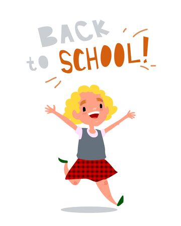 Welcome back to school. The schoolgirl is happy. Little girl is running and laughs. Cute school kid. Isolated vector illustration with text on white Векторная Иллюстрация