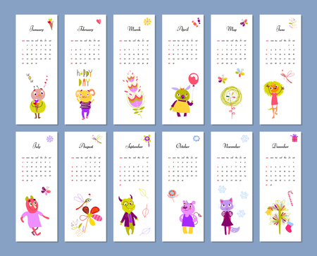 Monthly Kids Calendar 2018 With Funny Monsters Concept Vector