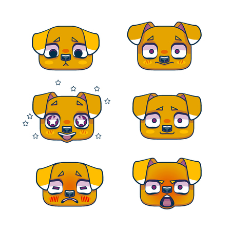 amazed: Muzzle puppy or dog, emotion, set. Symbol of the year 2018. Cute doggy head icons.