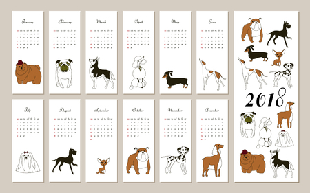 Monthly creative calendar 2018 with dog breeds. Concept, vector vertical editable template. 向量圖像