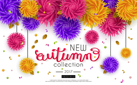 voluminous: Autumn Sale. Advertising banner with text and voluminous flowers. Vector background