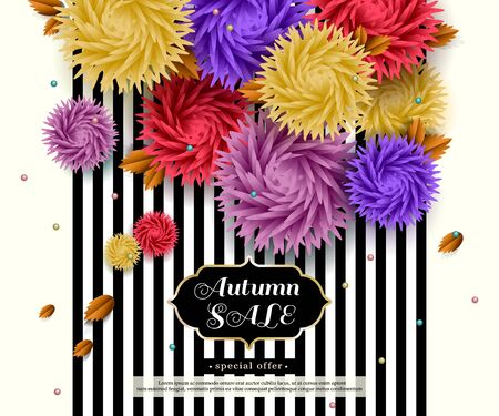 voluminous: Autumn Sale. Advertising black and white striped banner with text and voluminous flowers. Vector background