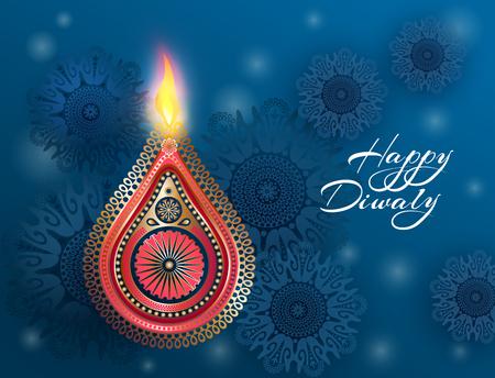 Indian celebration Diwali. Hindu festival of lights celebrated. Beautiful postcard design with national symbols - golden lamp, burning fire and mandalas. Vector illustration