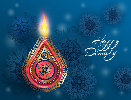 Indian celebration Diwali. Hindu festival of lights celebrated. Beautiful postcard design with national symbols - golden lamp, burning fire and mandalas. Vector illustration
