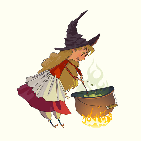 Cute little girl a witch cooks a witch's potion in a cauldron. Illustration for fairy tales and Halloween. Vector drawing isolated on white background.