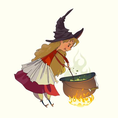 pocima: Linda niña una bruja cocina la poción de una bruja en un caldero. Ilustración para cuentos de hadas y Halloween. Dibujo vectorial aislado sobre fondo blanco. Vectores