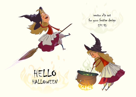 Cute young witch flies on a broomstick and cooks a potion in the cauldron. Set of clipart for Halloween. Vector illustration on white background