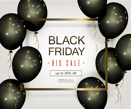Black Friday Sale Banner with Black Balloons and Golden Elements in the Frame. Illustration