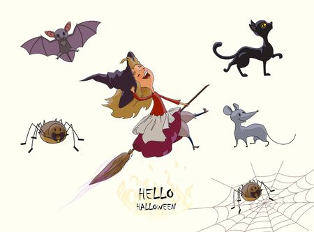 Set of characters for Halloween. Young cute witch flies on broom. Cat, spider, web, bat, mouse. Vector illustration of handmade isolated on white background.