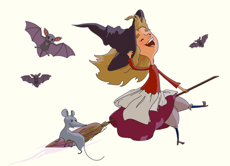 Cheerful young witch flying on a broom with a fun mouse, accompanied by bats. Items from the collection of Halloween. Vektor illustration isolated on white