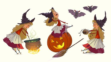 Halloween Witch, set. The young witch sits on a pumpkin and laughs, holds a spider, cooks the potion in the cauldron at the stake. Elements for design, prints and greeting cards. Halloween series