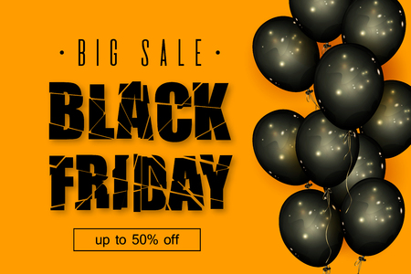 Black Friday Sale. Beautiful background with the destroyed up text, black balls on an orange background. Template for advertising posters, banners, flyers, leaflets, cards. Vector illustration. Stock Illustratie