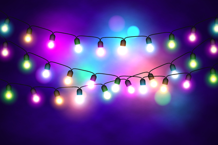Christmas lights festive decorations. Glowing New Years neon garland. Bright xmas background. Vector illustration