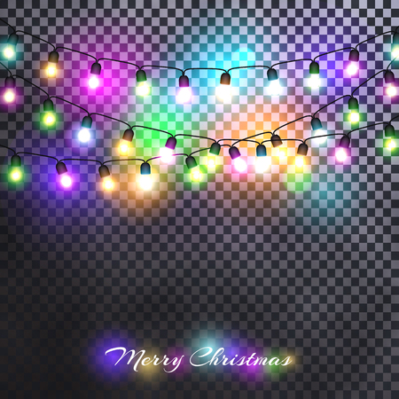 Christmas lights festive decorations. Glowing New Years neon garland against the background of a frosty fog. Isolated. Vector illustration