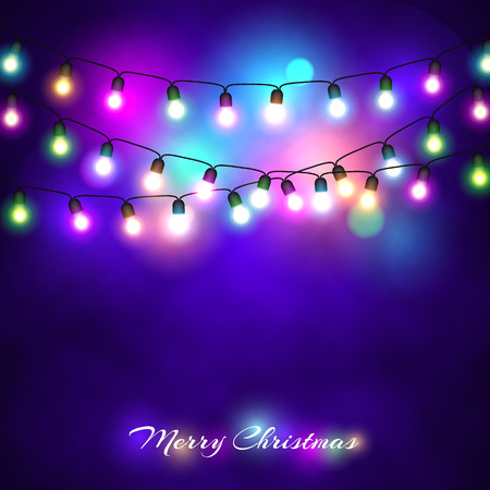Christmas lights festive decorations. Glowing New Years neon garland against the background of a frosty fog. Vector illustration