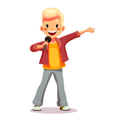 Boy sings a song in the microphone. Talented child sings karaoke. Funny cartoon character. Isolated on white. Vector