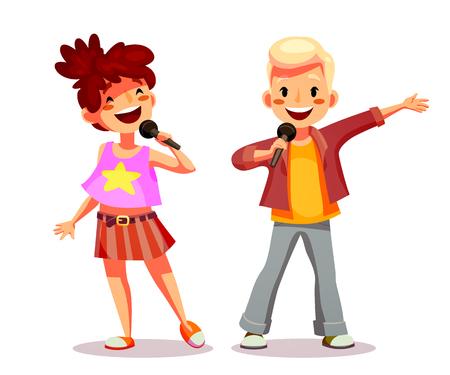 Mädchen und Junge, die in ein Mikrofon singen. Lustige Zeichentrickfigur. Getrennt auf Weiß. Vektor-Illustration