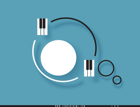 Musical quote in a frame. Creative quotation in the form of piano keys. Speech Bubble. Sign icon. Modern design elements for classical music. Isolated on a turquoise background. Vector illustration