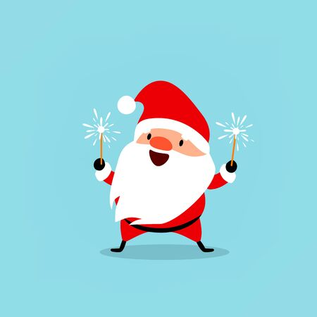 Santa Claus celebrates the New Year with sparkler in his hands. Cute emotional Christmas character. Element from the collection. Vector illustration isolated on light blue background Illustration