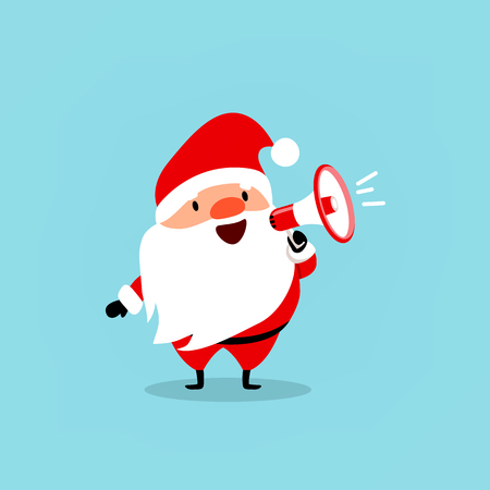 loudspeaker: Santa Claus with a megaphone. Cute emotional Christmas character. Element from the collection. Vector illustration isolated on light blue background