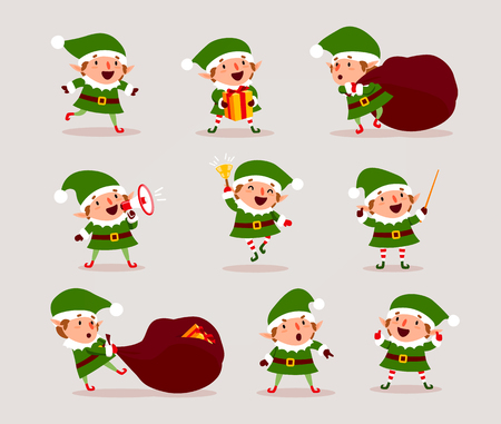 Set of cute playful Christmas elves. Collection of cute Santa Claus helpers. Happy New Year, Merry Xmas design element. Good for card, banner, flayer, leaflet, poster. Vector illustration